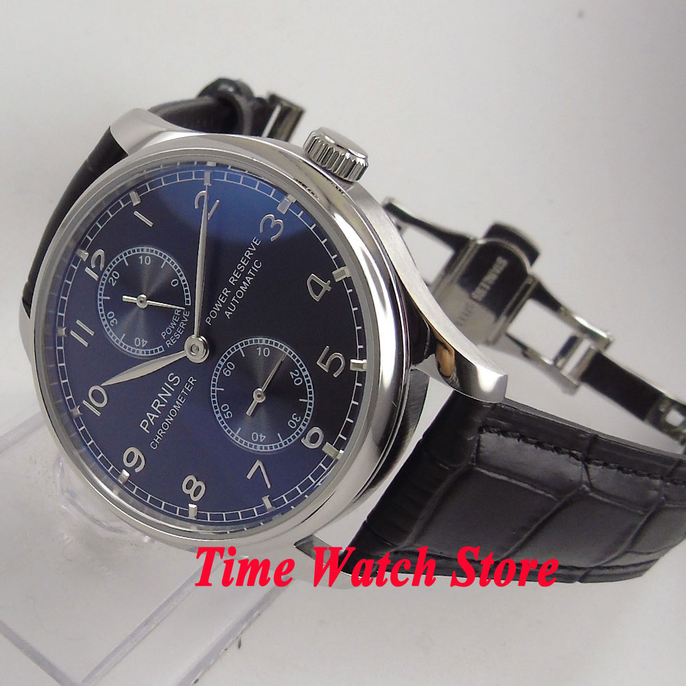 Parnis 43mm black dial silver hands power reserve deployant clasp ST2542 Automatic mens watch P100Parnis 43mm black dial silver hands power reserve deployant clasp ST2542 Automatic mens watch P100