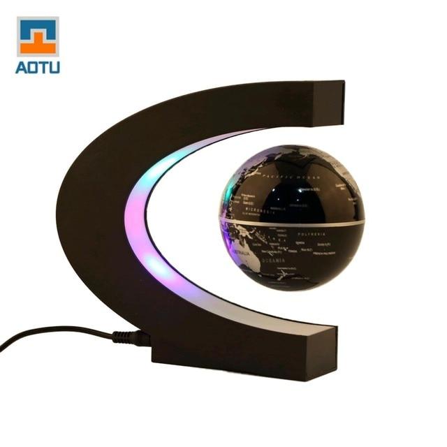 Fashion Home Decoration LED Floating Tellurion C Shape Magnetic Levitation Floating Globe World Map With LED Light Santa Decor
