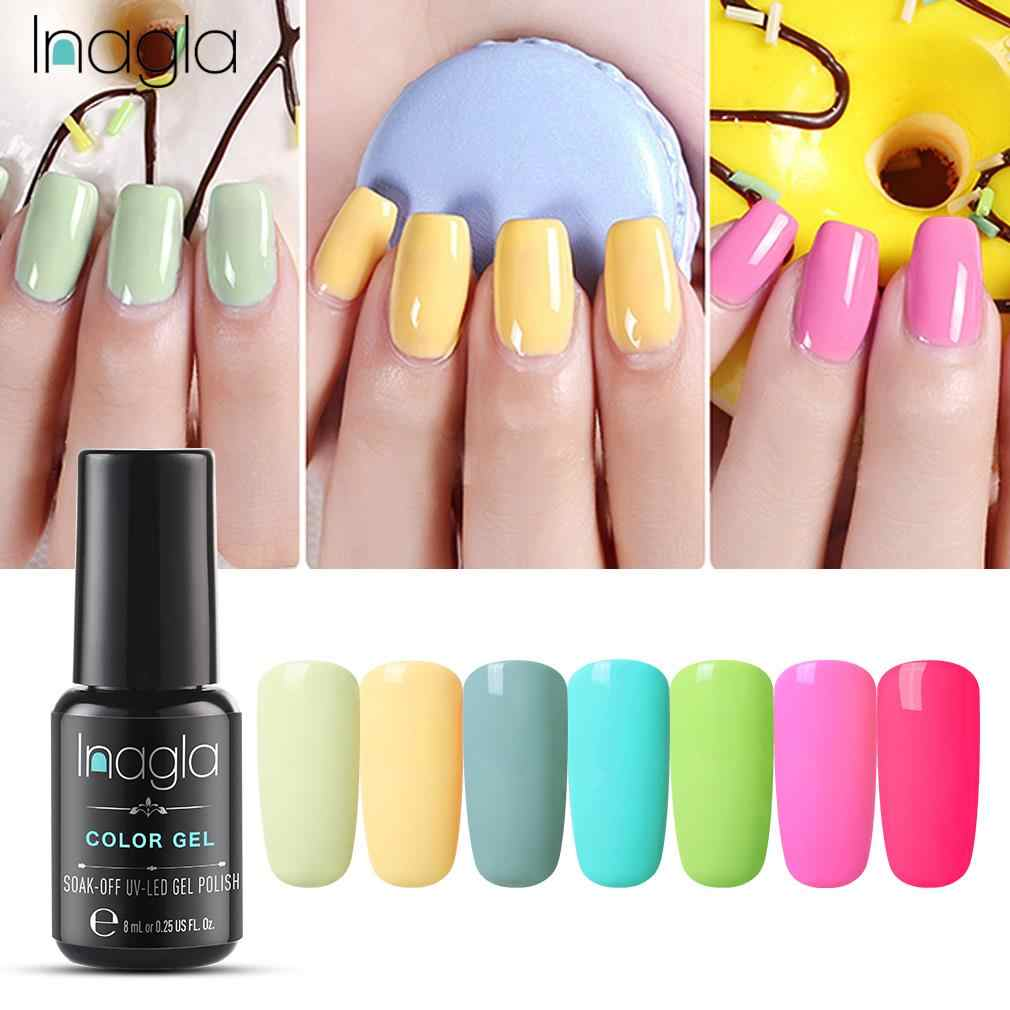 Inagla Nail Gel Polish Semi Permanent Enamel UV Gel Nail Polish Hybrid Nail Art Varnish Top Base Macaroon Manicure Gellak
