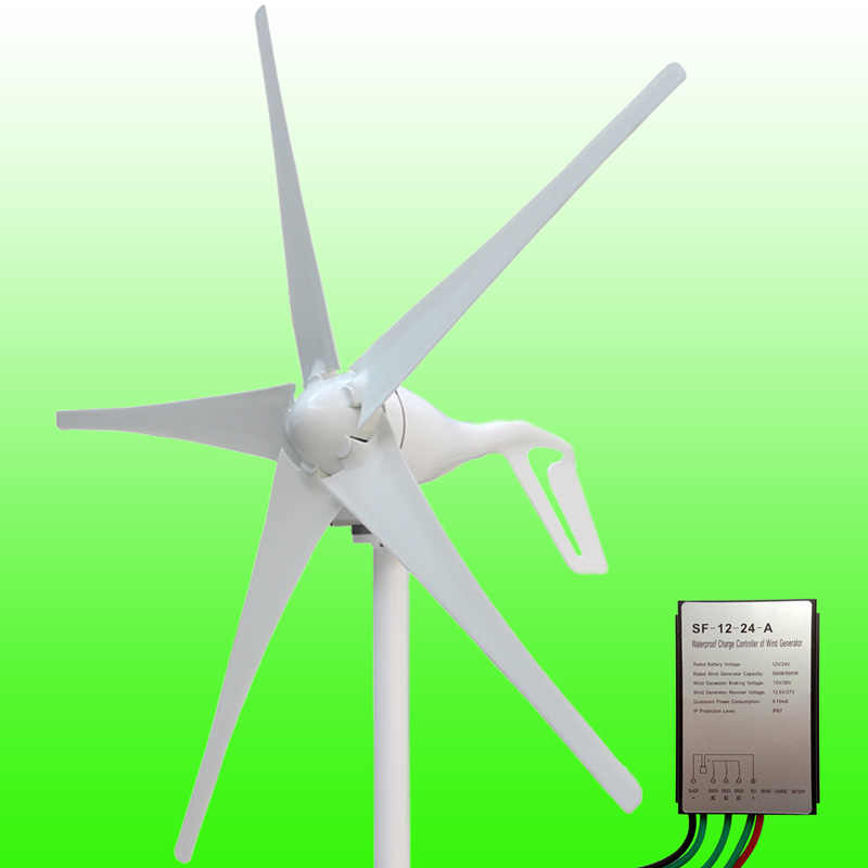 2019 Hot Selling 400W 12V/24V Wind Generator 3/5 Blades Optional Permanent Magnet Wind Turbine Generator Wind Generator Kits