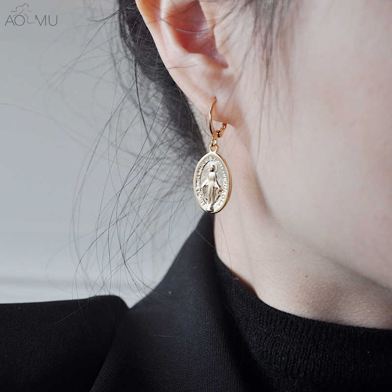 AOMU Minimalist Metal Gold Geometric Small Oval Coin Virgin Mary Link Chain Circle Long Drop Earrings for Women Party Jewelry