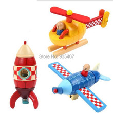 New ! 2014 Janod wooden toy magnetic combined child early learning plane rocket helicopter efre shipping