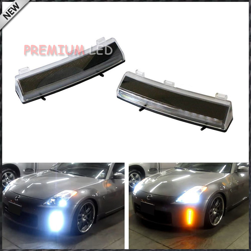 OEM Exact Fit Switchback LED Front Bumper Reflector Replacement LED Daytime Running Lights For 2006-2009 Nissan 350Z LCI