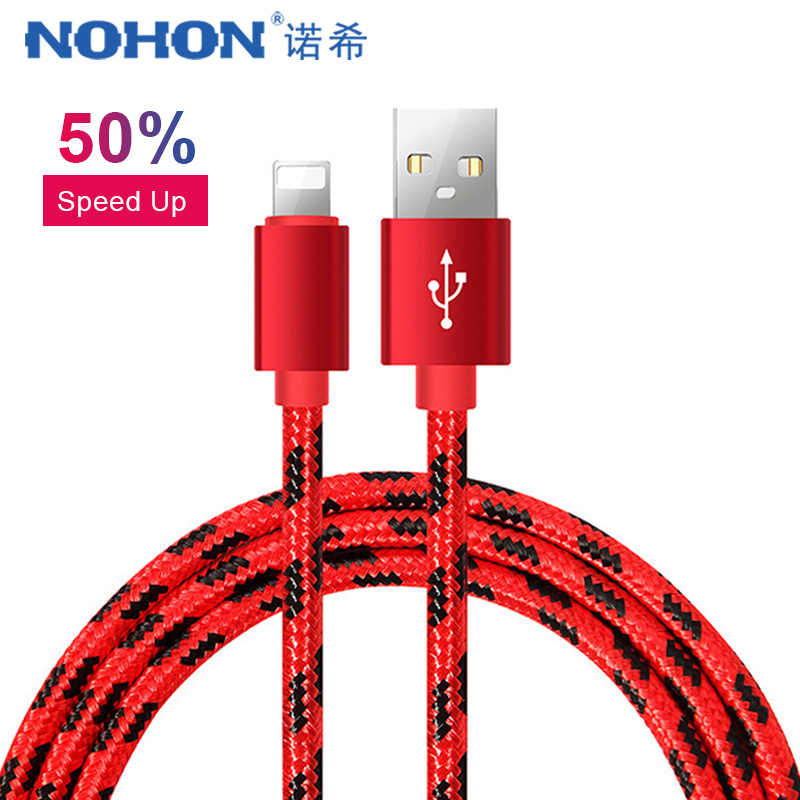 NOHON Cable de datos de carga USB para iPhone X XS X MAX XR 6 7 8 6 5 S 5 5S Plus cables de sincronización de carga rápida para iPad Mini 1 2 3 4 8 pines 1 M