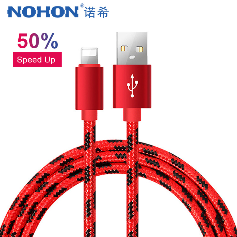 NOHON USB Charge Data <font><b>Cable</b></font> For iPhone X XS MAX XR 7 6 8 6S 5 5S Plus For iPad Mini <font><b>1</b></font> 2 <font><b>3</b></font> 4 8 Pin Fast Charging Sync <font><b>Cables</b></font> 1M image