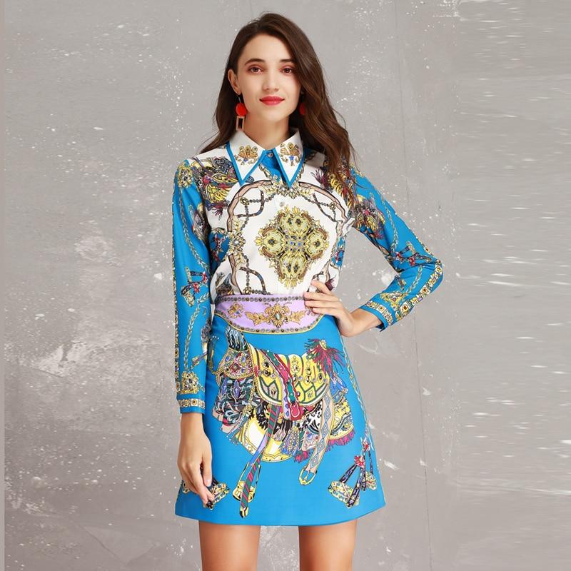 High Quality New 2019 Spring Runway Designer Print Long Sleeve Beads Turn down Collar Blouse Skirt