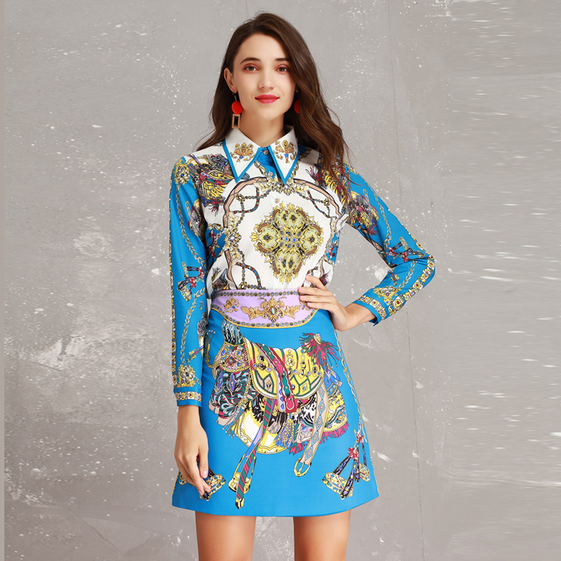 High Quality New 2019 Spring Runway Designer Print Long Sleeve Beads Turn down Collar Blouse + Skirt Suits Women Twinsets-in Women's Sets from Women's Clothing    1