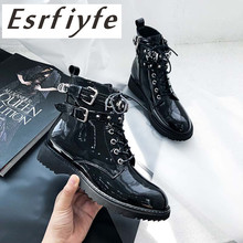 ESRFIYFE 2019 New Genuine Leather Ankle Boots Women Fall Winter Platform Shoes Size 34-39 Buckle Martin Motorcycle Booties