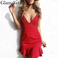 Glamaker Sexy Deep V Neck Lace Up Ruffle Sundress Dress Women Backless Mini Dress Beach Summer
