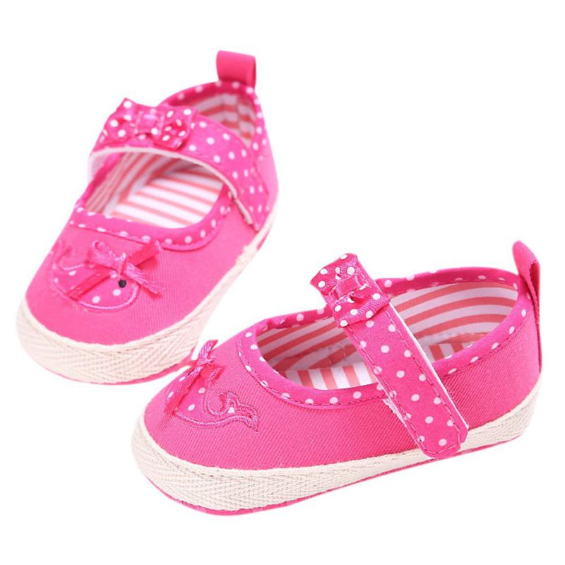 2018 New baby first walker shoes Polka Dot bow-knot kids girl Cloth Infant Toddler Soft Sole Crib Newborn Shoes footwear M1