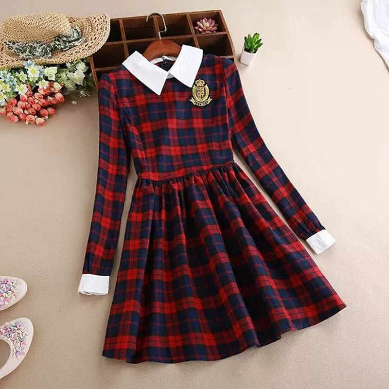29e89737785 Women Plaid Print Cotton A-line Pleated Dress School Girls Uniform Preppy  Style Embroidery Full