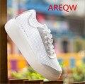 2016 новый сетки пряжи белые туфли плоским Strappy обувь корейских женщин тенденция обувь с толстым дном b2