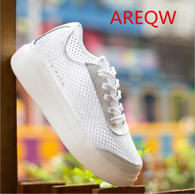2016 As novas redes de fios mulheres tendência sapatos sapatos brancos sapatos de Tiras plana coreano com espessura inferior b2