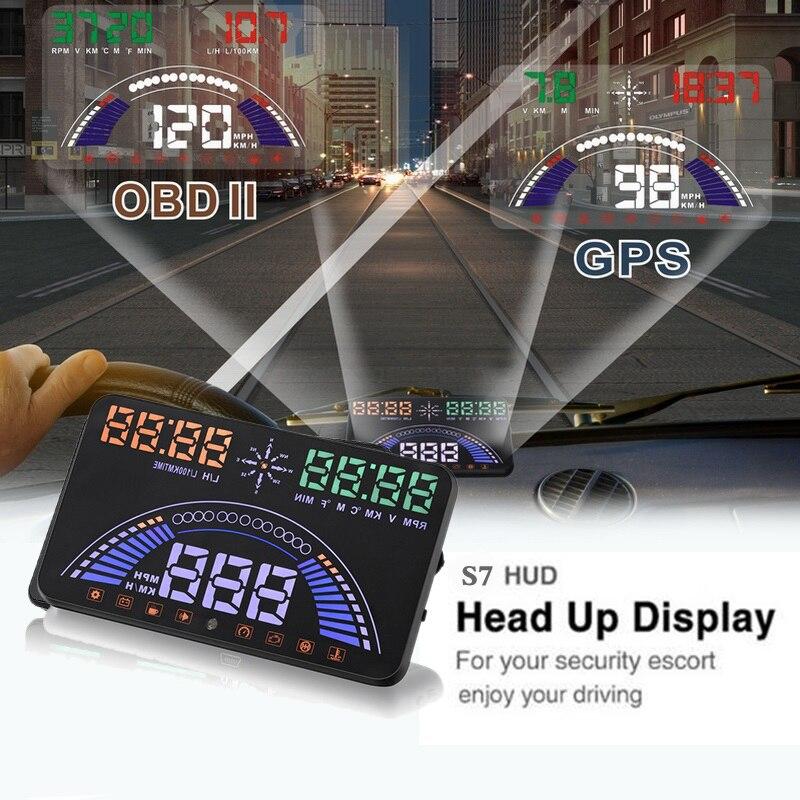 S7 GPS Compteur De Vitesse 5.8 pouces Écran LED De Voiture HUD Deux Systèmes OBDII OBD2 Head Up Display Auto Véhicule de Sécurité Conduite Utilisation Universelle