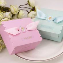 50 Pcs/lot New Boys and Girls Birthday Party Candy Box Paper Cake Gift Box Baby Shower Favor Boxes with Ribbon 20pcs lot new design drawer paper candy chocolate boxes baby shower gift packaging box birthday wedding party favor box