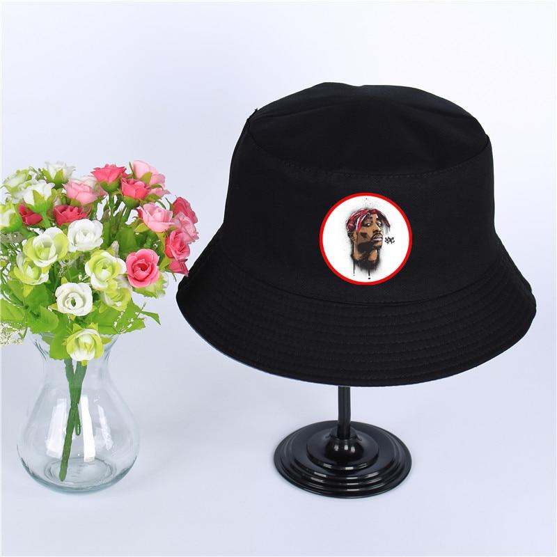 Dynamic 2pac Tupac Shak Cap Women Mens Panama Bucket Hat 2pac Tupac Design Flat Sun Visor Fishing Fisherman Hat
