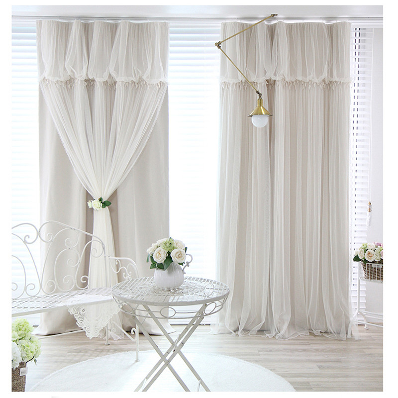 Korean Princess Tassels Head Top Blackout Curtain Cloth Curtain+Voile Sheer Tulle Curtains For Living Room Bedroom Curtain 77#25