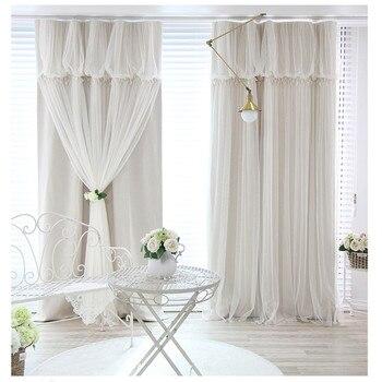 Princesa coreana borlas cabeza opaca cortina paño cortina + Voile cortinas velos de tul para salón dormitorio cortina 77 #25