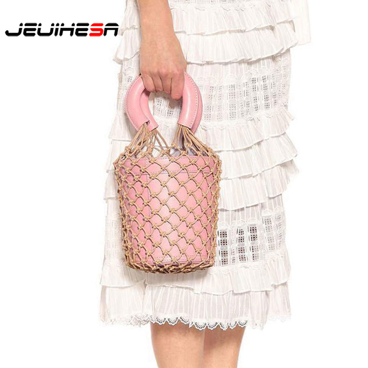 100% Genuine Leather Luxury Famous Brand Women Bags Mesh Decoration Bucket Bag High Quality Women Handbag Ladies Real Leather famous brand women bag high quality 100