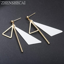 2018 New Korean Metal Triangle earring drop Fashion Simple Jewelry white pink color Geometric Earrings For Women Brincos(China)