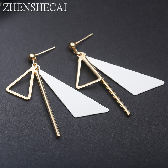 2018 New Korean Metal Triangle earring drop Fashion Simple Jewelry white pink color Geometric Earrings For Women Brincos