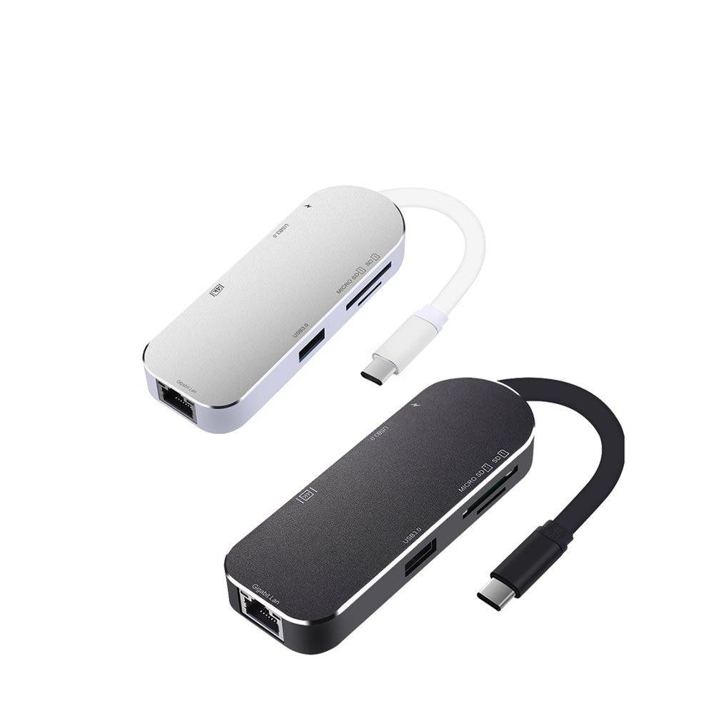 Moveski YC206 Type C Hub Aluminum 7 in 1 USB C Adapter 3.1 Charging Port with 4K HDMI Port 2 USB 3.0 Ports SD Micro Card Reader