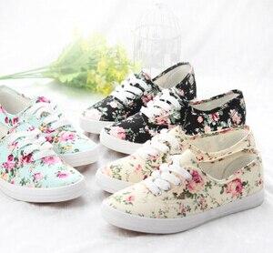 9569a3a1e5d2aa Floral Low Top Designs Lace Up Platform Canvas Shoes Women Sneaker ...