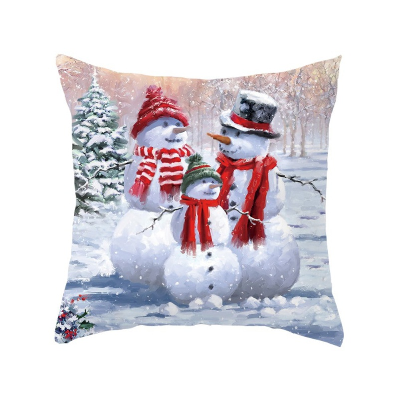 Christmas Day Elements Series Pillow Case Breathable And Safe Fabric One-sided Pattern Peach Velvet Material Pillowcase