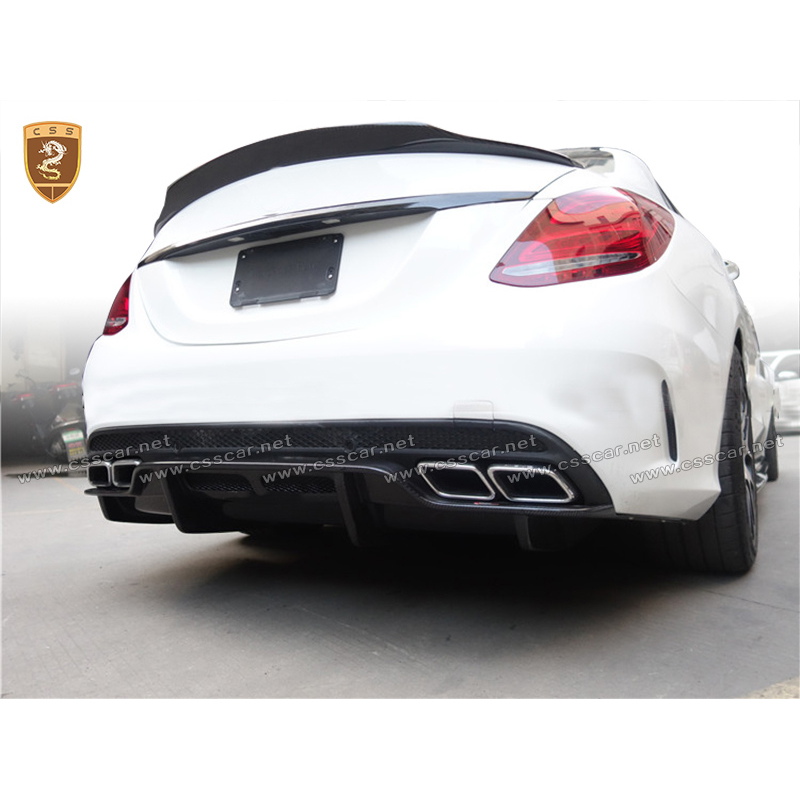 Carbon Fiber <font><b>Rear</b></font> Bumper <font><b>Diffuser</b></font> Lip For Mercedes Benz W205 C Class C180 C200 C250 <font><b>C300</b></font> Sedan 4Door 2015 2016 2017 C63 Modified image