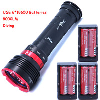 diving 8000lm underwater flashlight 5 x XM L L2 LED torch light waterproof brightness Lamp led Lantern +6*batteries+Charger