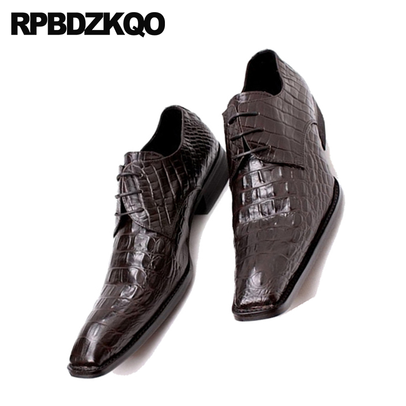 Pointed Toe Snake Skin Snakeskin Wedding Prom Men Rubber Sole Dress Shoes Python Leather Oxfords Alligator Crocodile Brogue Shoes
