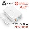 USB Carregador de Parede Aukey de Carga Rápida 2.0 42 W 3 Portas Turbo Parede Carregador de Viagem para Galaxy S6 Borda Mais, S6, nota 5 Asus Zenfone 2