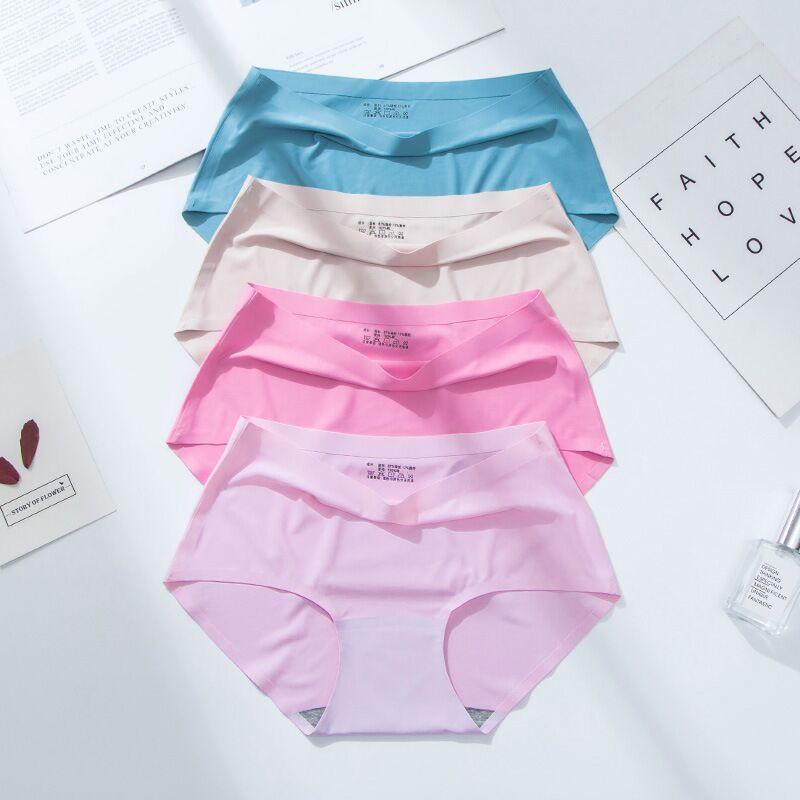 3pcs/Lot Seamless Ice Silk Underwear Women Sexy Low Waist Women Briefs Transparent Panties Bikini Panty Panties Cotton Crotch
