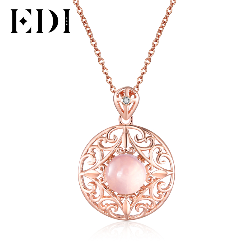 Vintage Women Pink Rose Quartz Pendants Necklace Genuine 7mm 100% Natural Gemstone Choker 925 Sterling Silver Fine Jewelry