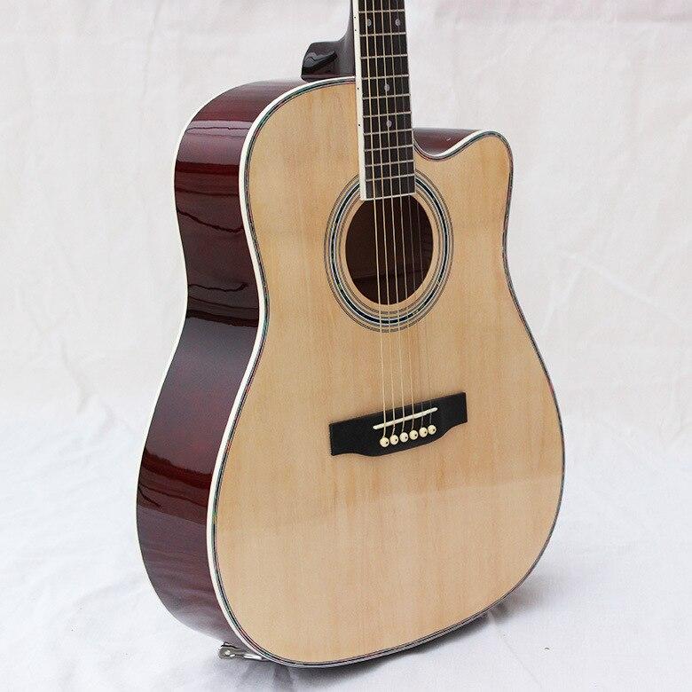 Electro Steel-String Flattop Guitar Dreadnought 41 Inch Guitarra 6 String White Light Body  Body Cutaway Picea Asperata Mahogany цена и фото