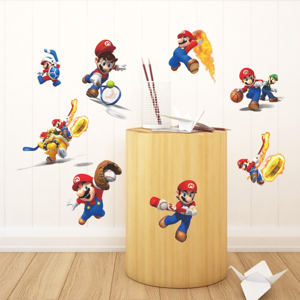 Cartoon Mario Wall Stickers For Kids Rooms Play Basketball Sports Wall Decals Home Decor Art Poster Wallpaper Boy S Room Decor