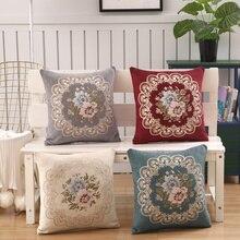 Роскошный синель чехол для подушки с вышивкой подушка с цветами Чехол Бархатный Чехол для подушки домашний декоративный диван подушка 45×45 см стул
