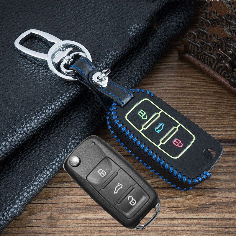 Image 4 - Hand sewing Luminous Leather car key cover case shell for VW Golf Bora Jetta POLO GOLF Passat For Skoda Octavia A5 Fabia SEAT-in Key Case for Car from Automobiles & Motorcycles