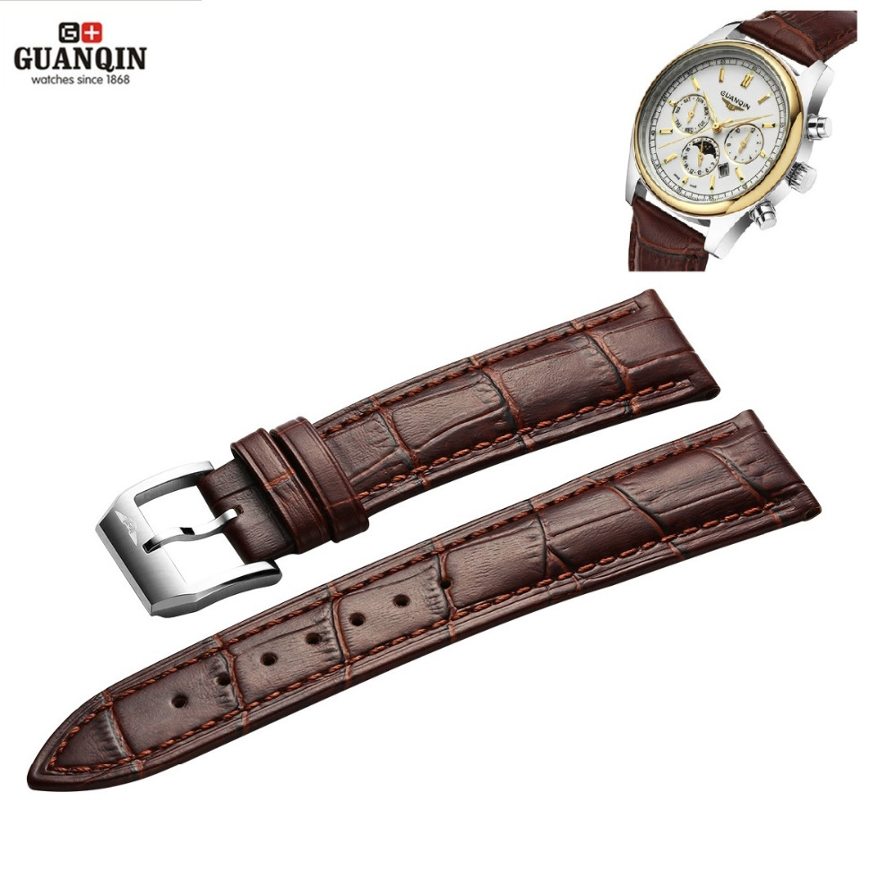 2016 GUANQIN Watchband Buckle Black Brown Watchbandes Leather Watch band 20mm High Quality Watch Strap цена