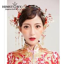 все цены на HIMSTORY Vintage Chinese Handmade Bride Headdress Costume Coronet Tassel Hair Stick Wedding Hair Accessories Hair Jewerlry онлайн