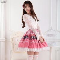 Lolita Sweet Princess Pleated Skirts Pink Alice Concert Printed Polyester Cute Girls Lolita Cosplay Skirts Party XS XXL