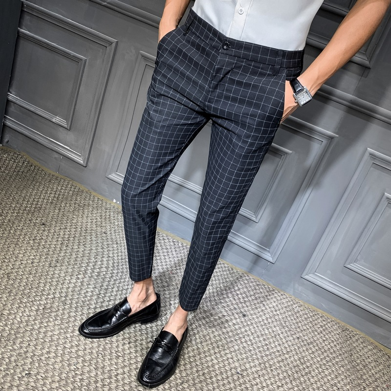 2019 Men Dress Pant Plaid Business Casual Slim Fit Ankle Length Pantalon  Classic Vintage Check Suit Trousers Wedding 28-34