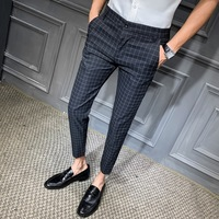 2019 Men Dress Pant Plaid Business Casual Slim fit Ankle Length Pantalon Classic Vintage Check Suit Trousers Wedding 28 34
