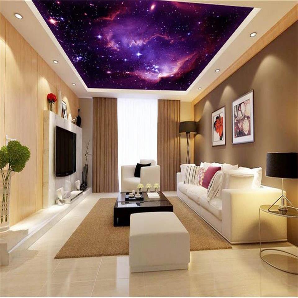 3D wallpaper custom size photo living room hang ceiling mural purple nebula starry sky painting non-woven wallpaper for wall 3d custom photo wallpaper 3d stereoscopic sky ceiling cloud wallpapers for living room mural 3d wallpaper ceiling