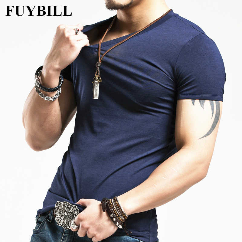 New FuyBill Brand Clothing 10 colors V neck Men's T-Shirt Men Fashion Tshirt Fitness Casual For Male T-shirt S-5XL Free Shipping