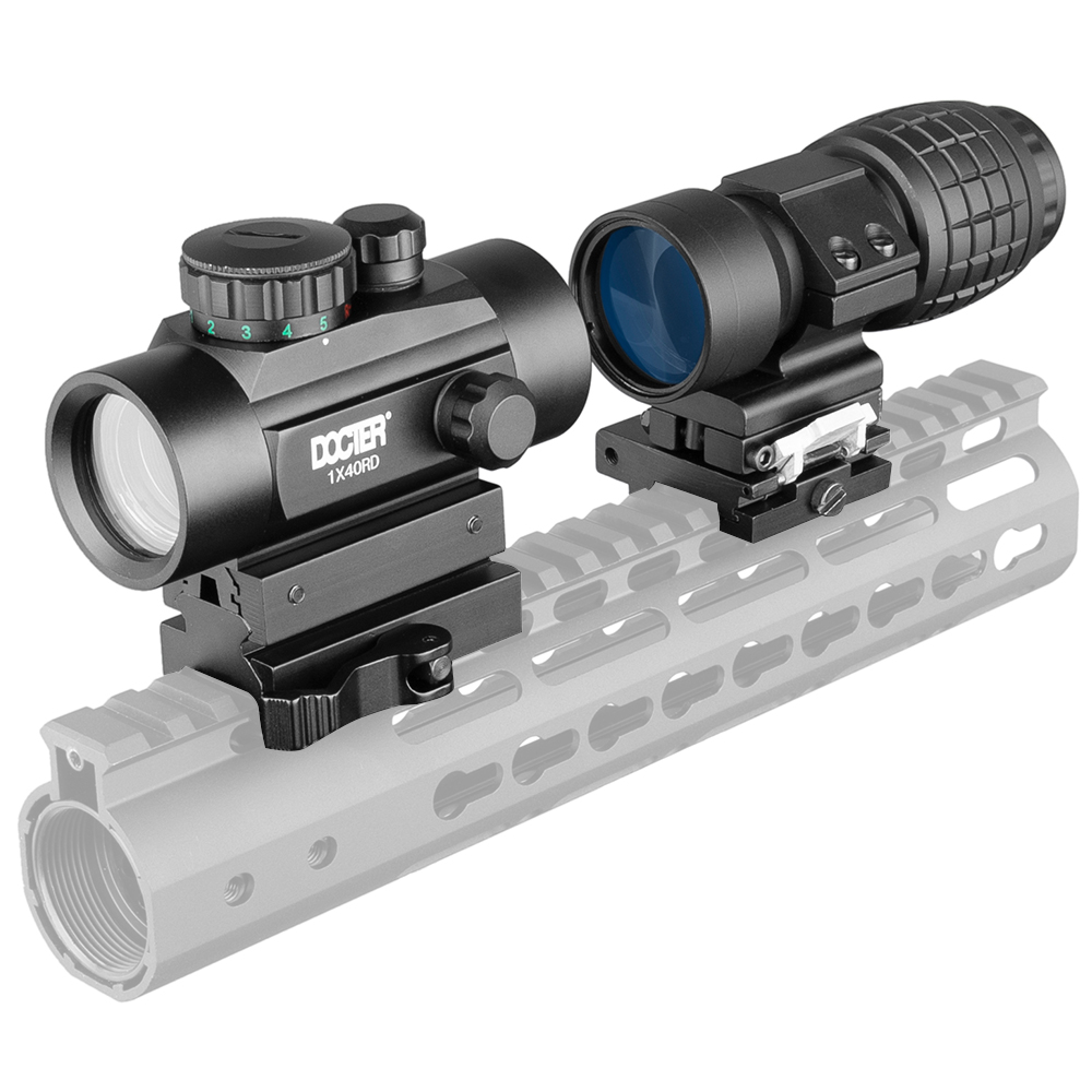 1x40 Riflescope טקטי Red Dot Sight ציד הולוגרפי ירוק Dot Sight 3x זכוכית מגדלת שילוב