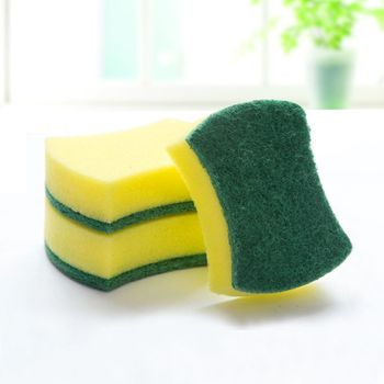 10pcs/bag Functional Useful Sponge Kitchen Bowl Dishwash Clean Scrub Cleansing Sponge Pads Cleaning Tools Accessories Durable