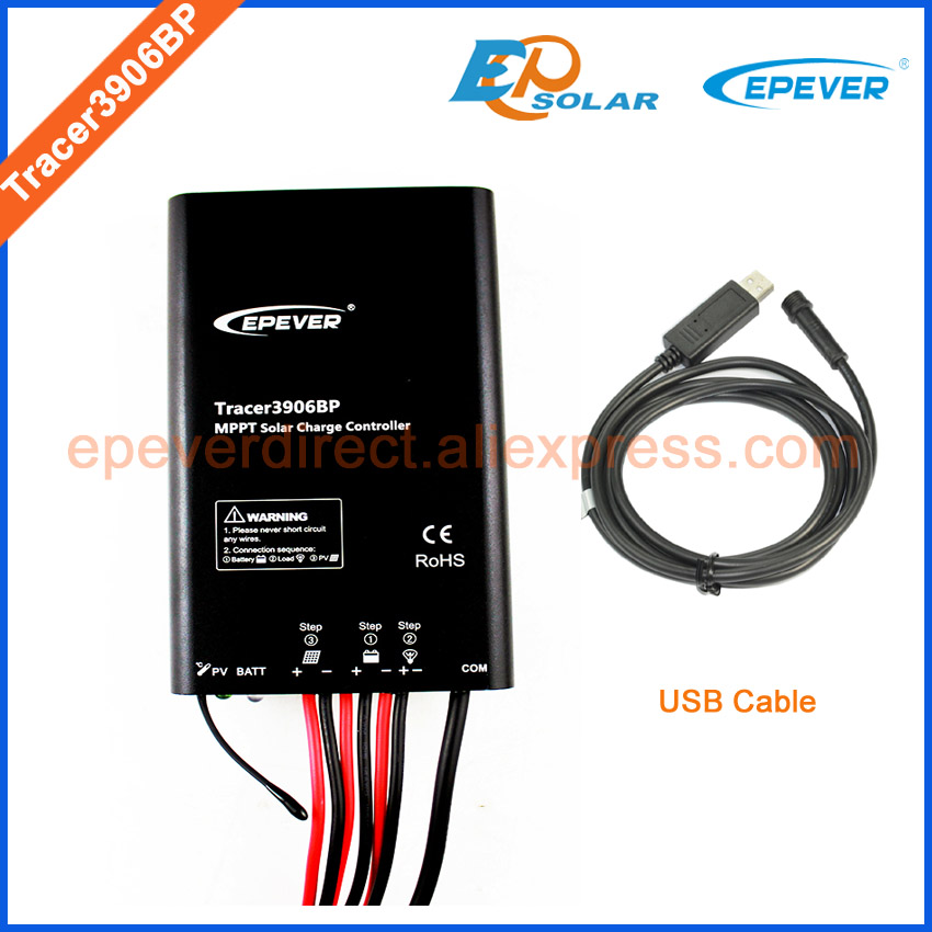 12V regulator MPPT Tracer3906BP EPEVER 15A 15amps EPsolar new arrival products USB connect PC cable Solar battery controller