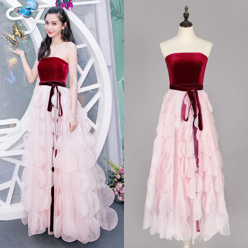7ffa8bde3e5b Wholesale & Retail 2018 Fashion Red Velvet Stitching Pink Fairy Dress Tube  Top Sexy Strapless Banquet Dress Free Shipping