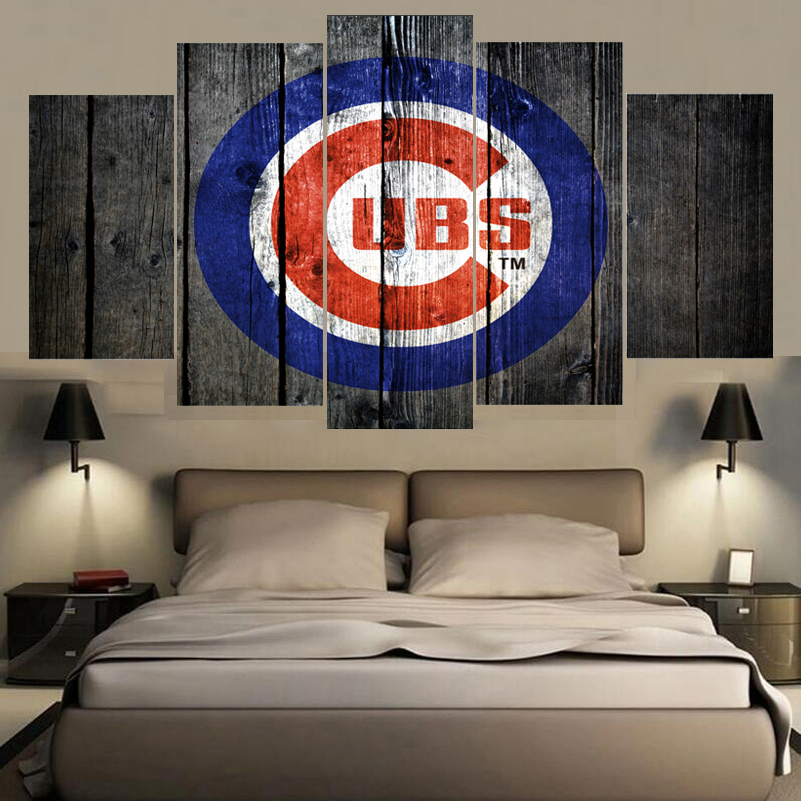 Chicago Home Decor Stores: 5 Panels Champions Chicago Cubs Canvas Poster Wall Art